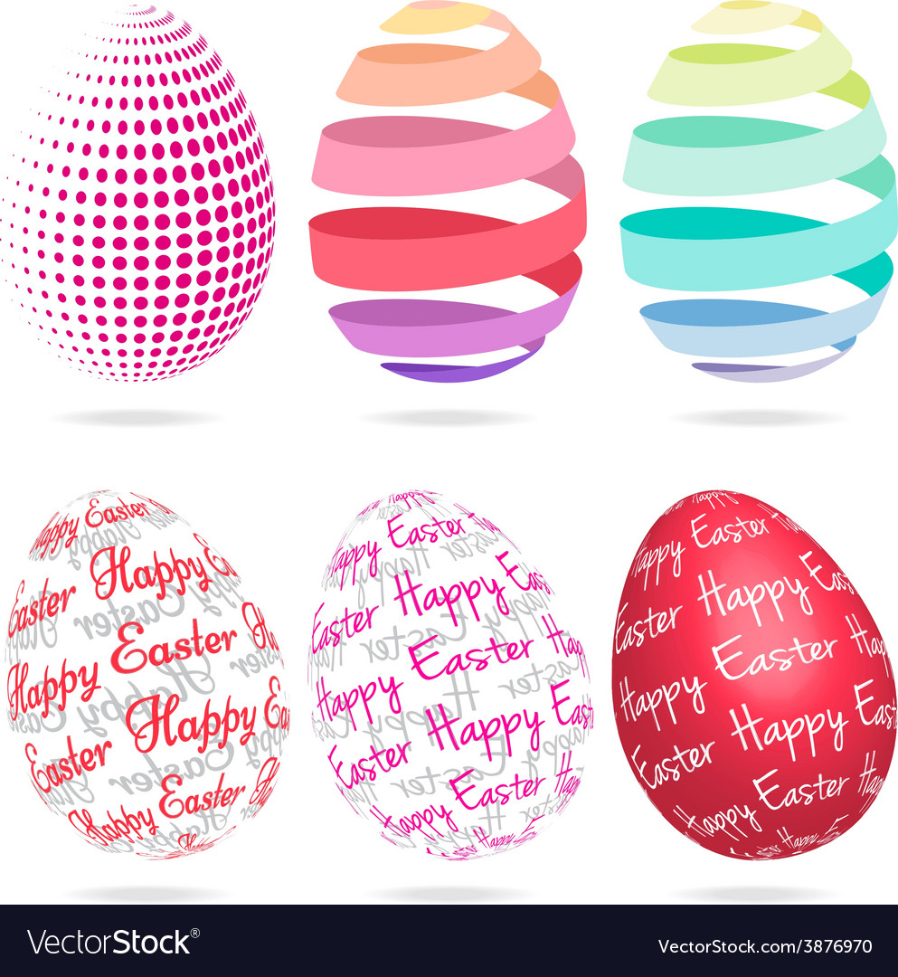 3d easter eggs set vector | Price: 1 Credit (USD $1)