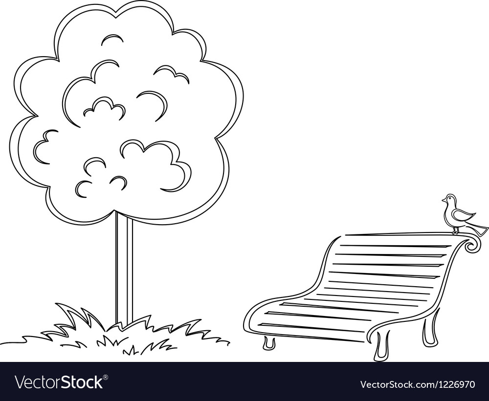 Bird park bench tree contours vector | Price: 1 Credit (USD $1)