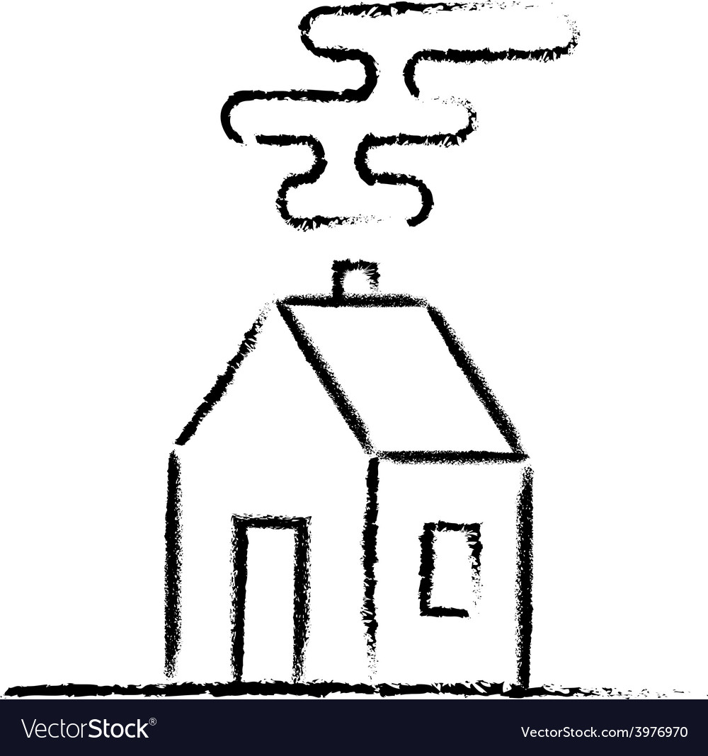 Black crayon house sketch vector | Price: 1 Credit (USD $1)