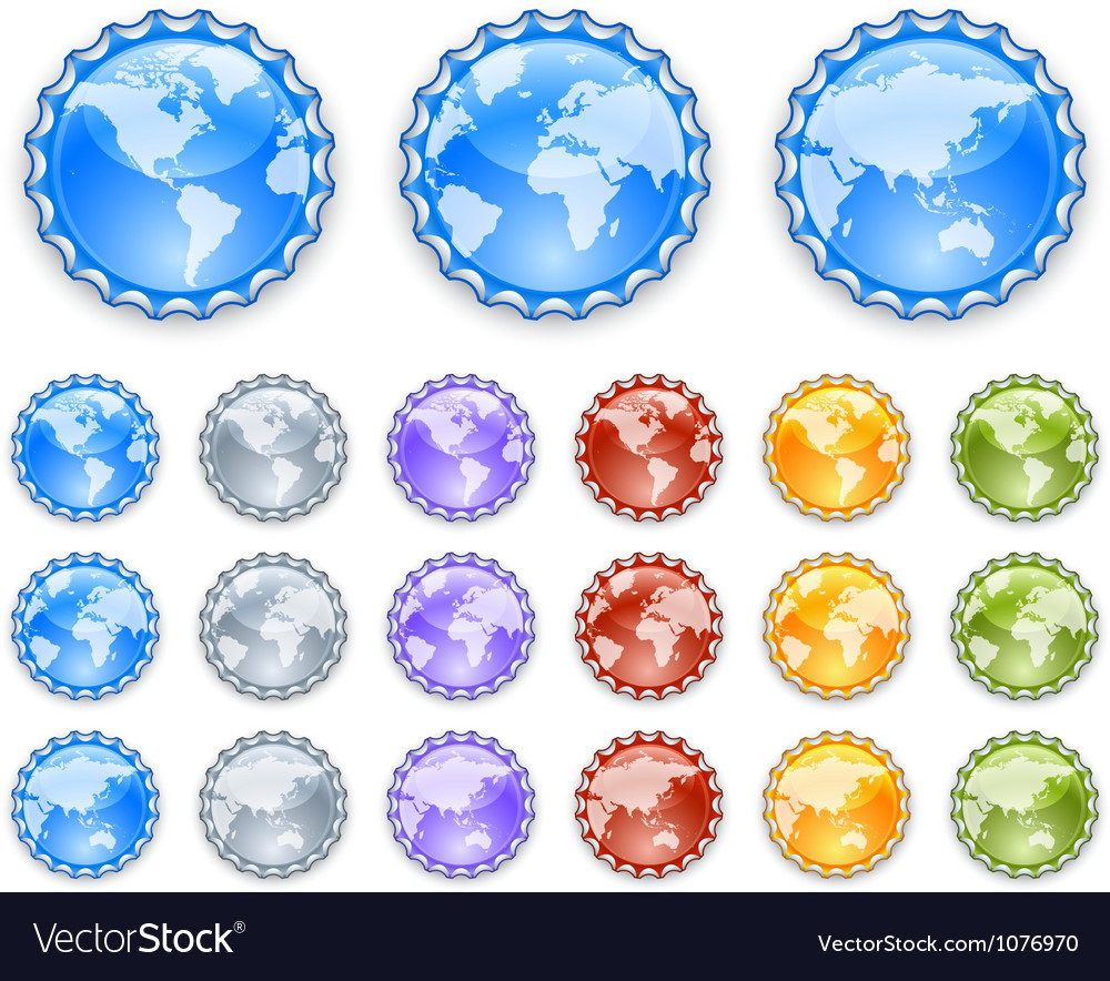 Bottle caps with earth globes vector | Price: 1 Credit (USD $1)
