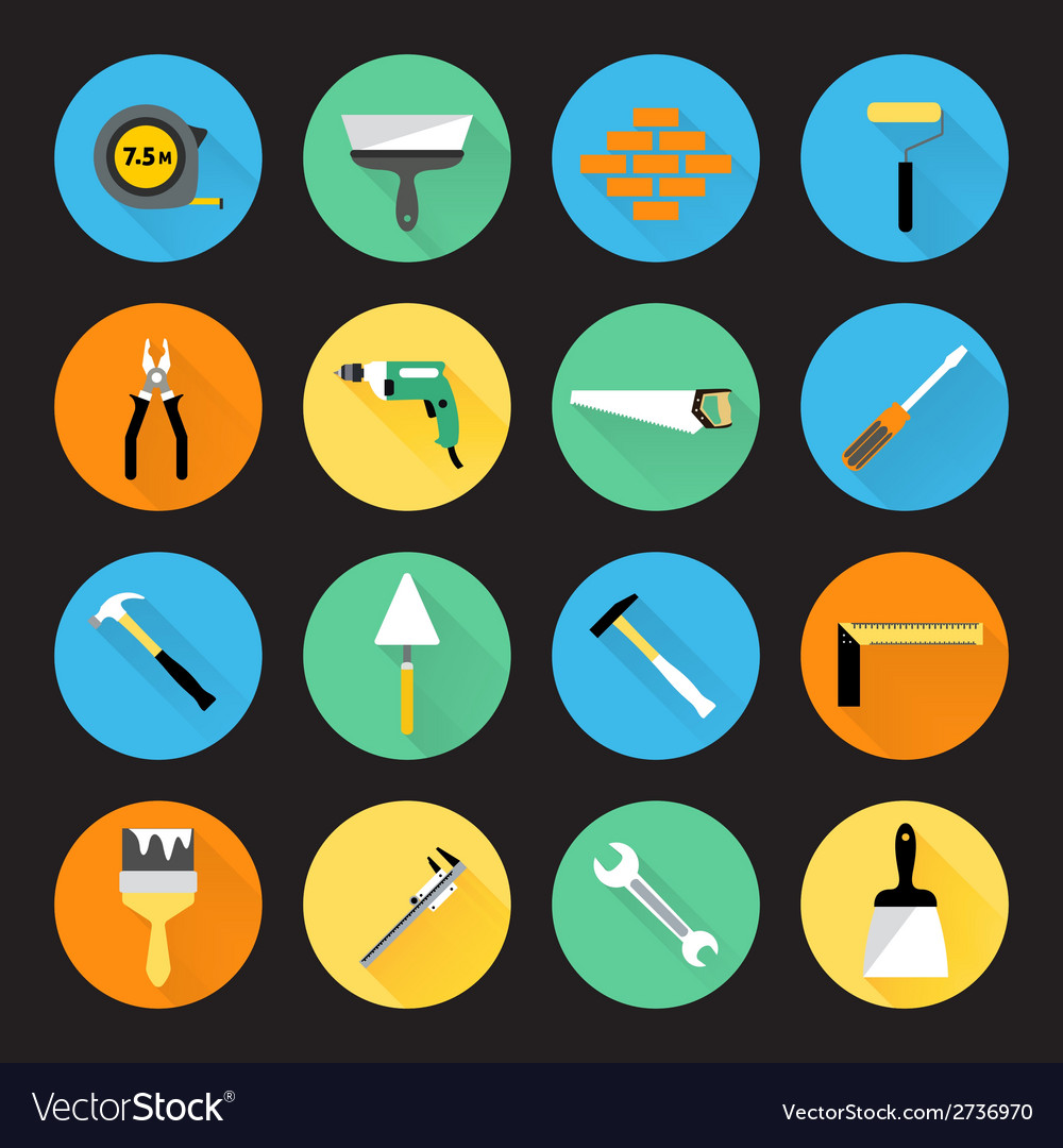 Builder instruments icons vector | Price: 1 Credit (USD $1)