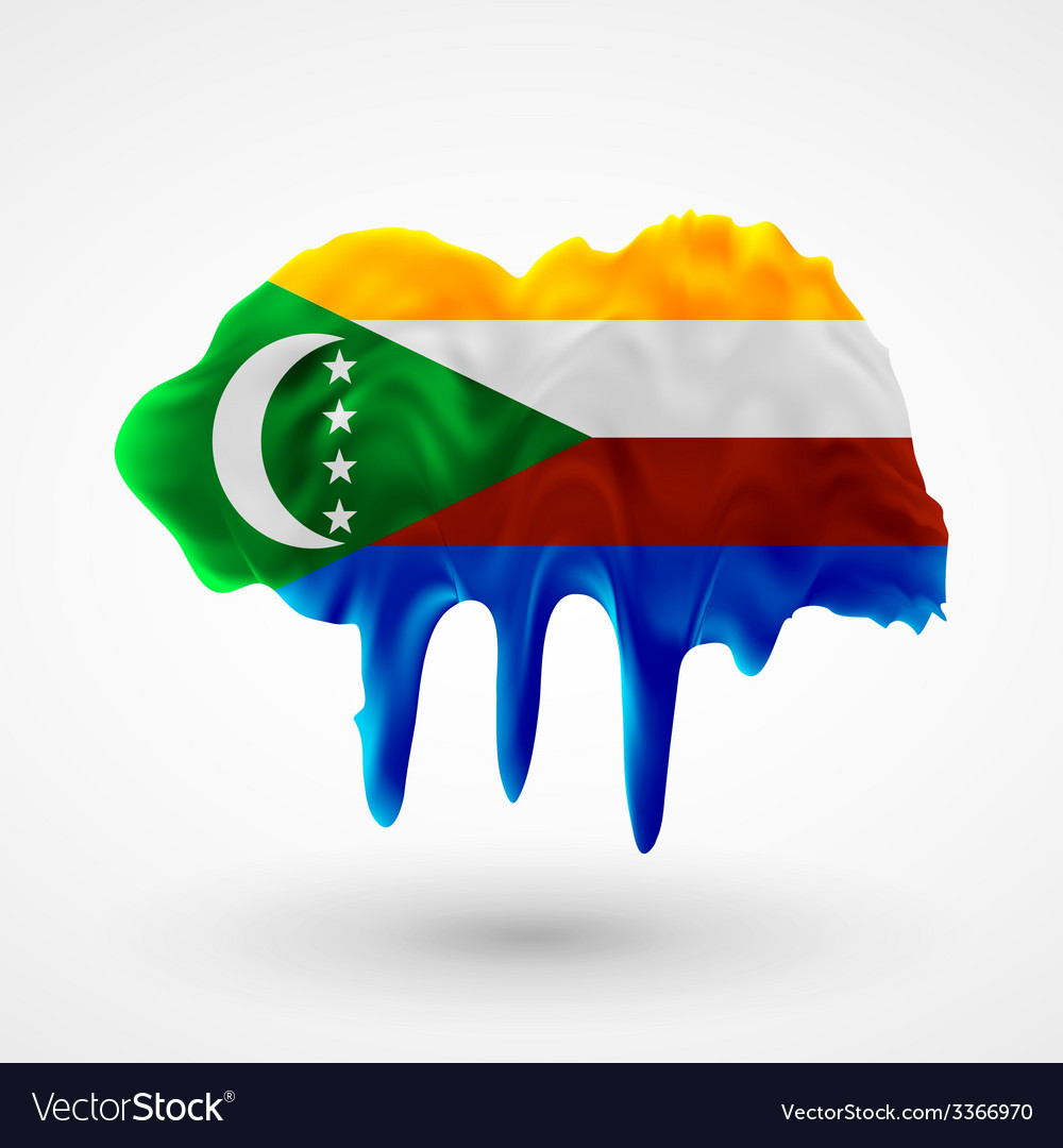 Flag of comoros painted colors vector | Price: 1 Credit (USD $1)