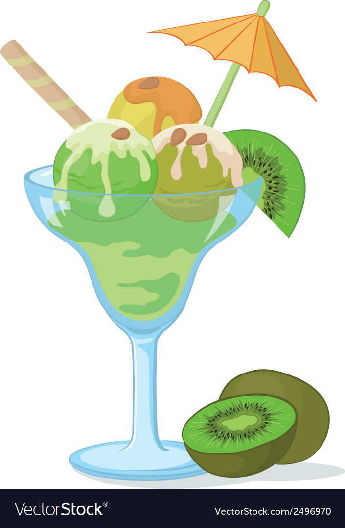 Glass with ice cream kiwifruit and nuts vector | Price: 1 Credit (USD $1)