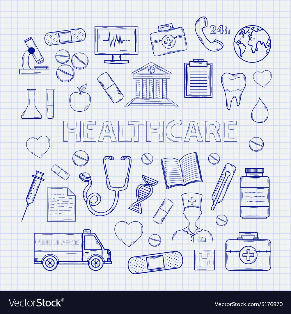 Health care set on the notebook sheet vector | Price: 1 Credit (USD $1)