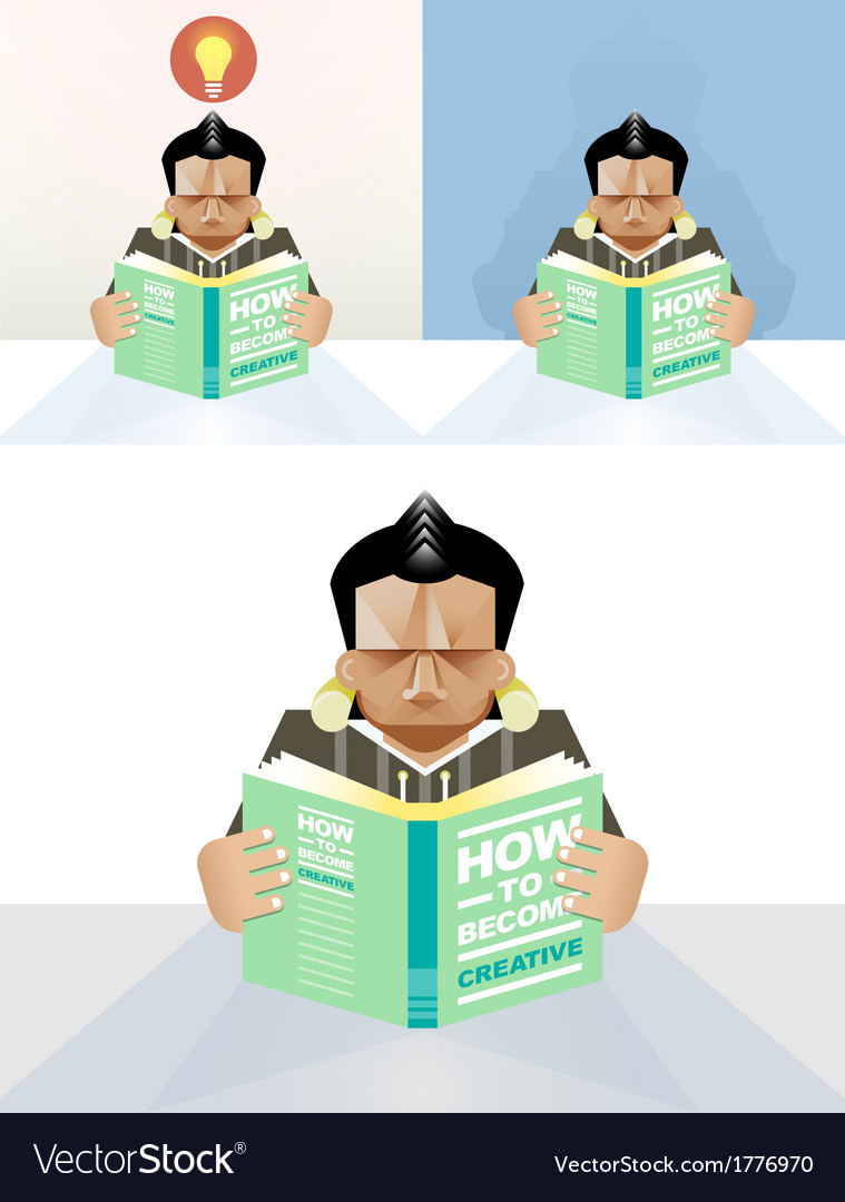Man reading a book concept vector | Price: 1 Credit (USD $1)