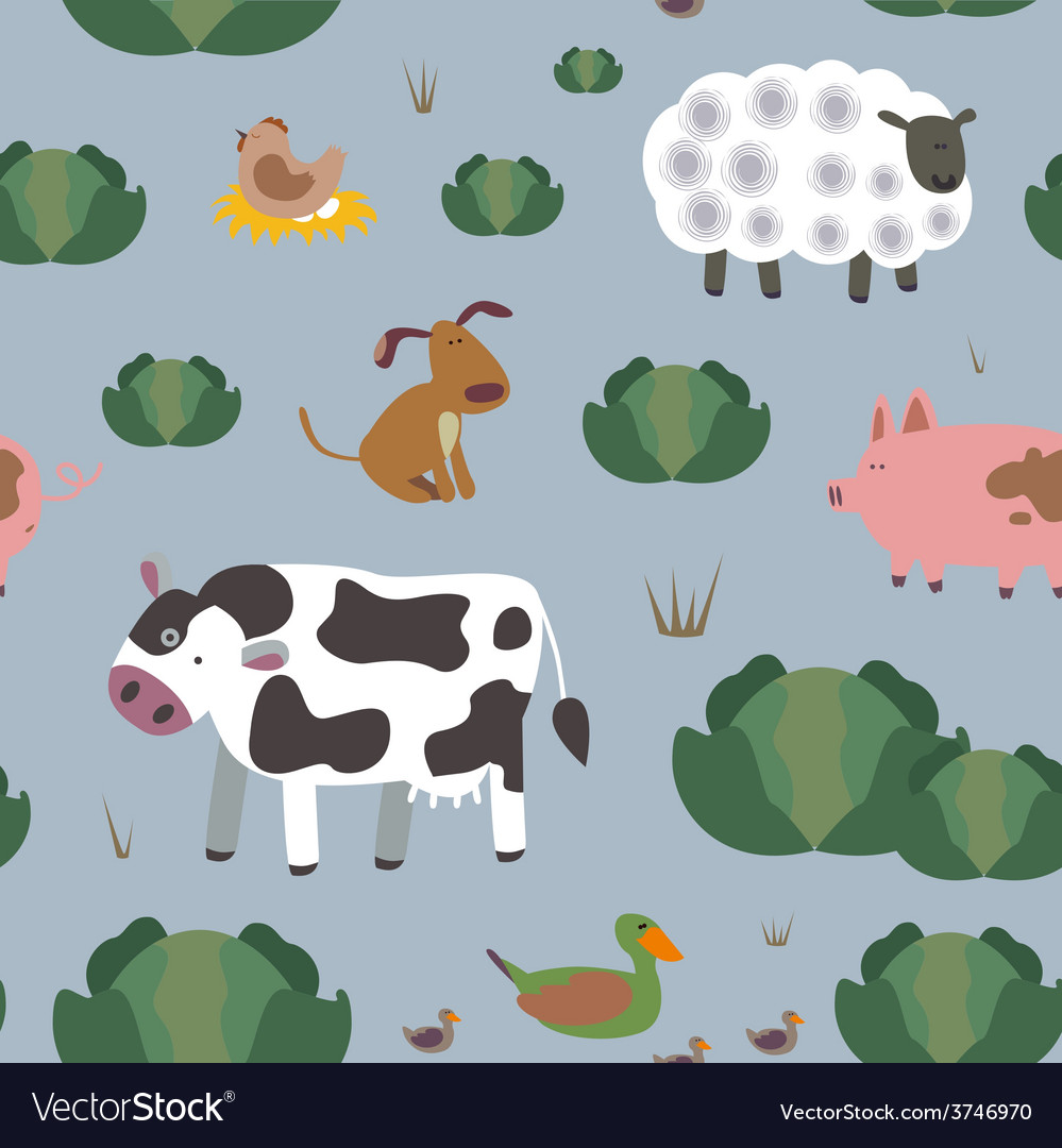 Rural animals seamless print vector | Price: 1 Credit (USD $1)