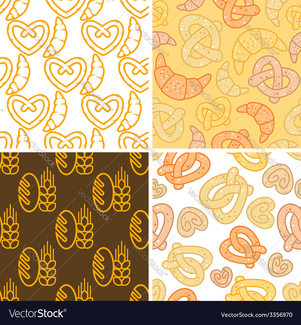 Seamless assorted bakery background pattern vector | Price: 1 Credit (USD $1)
