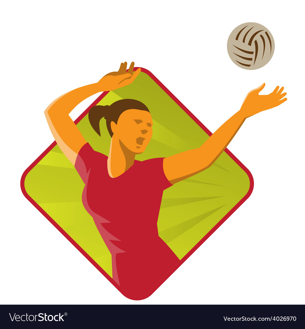 Volleyball player spike ball retro vector | Price: 1 Credit (USD $1)
