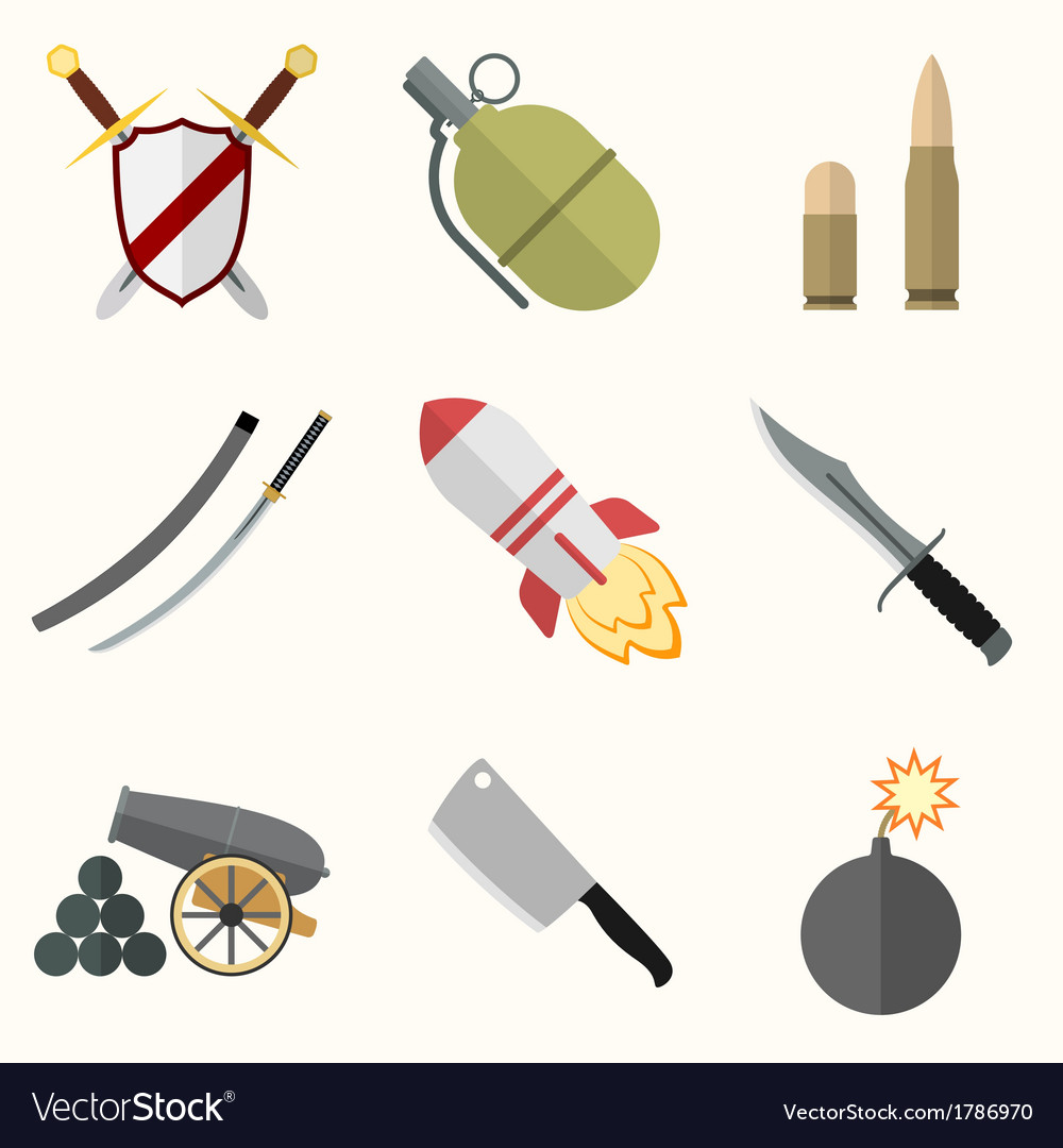 Weapon icon set vector | Price: 1 Credit (USD $1)