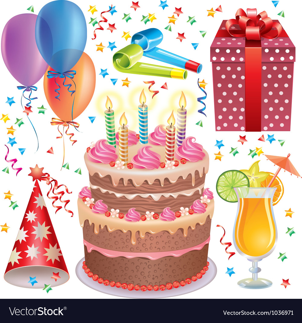 Birthday set vector | Price: 3 Credit (USD $3)