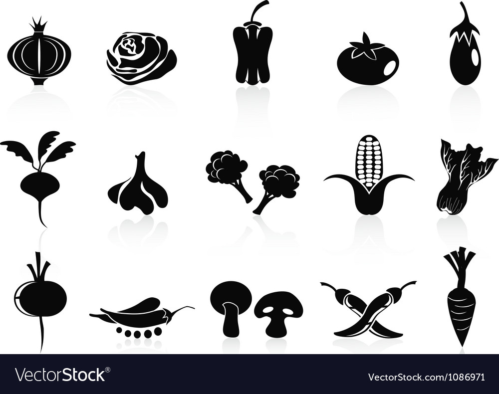 Black vegetable icons set vector | Price: 1 Credit (USD $1)
