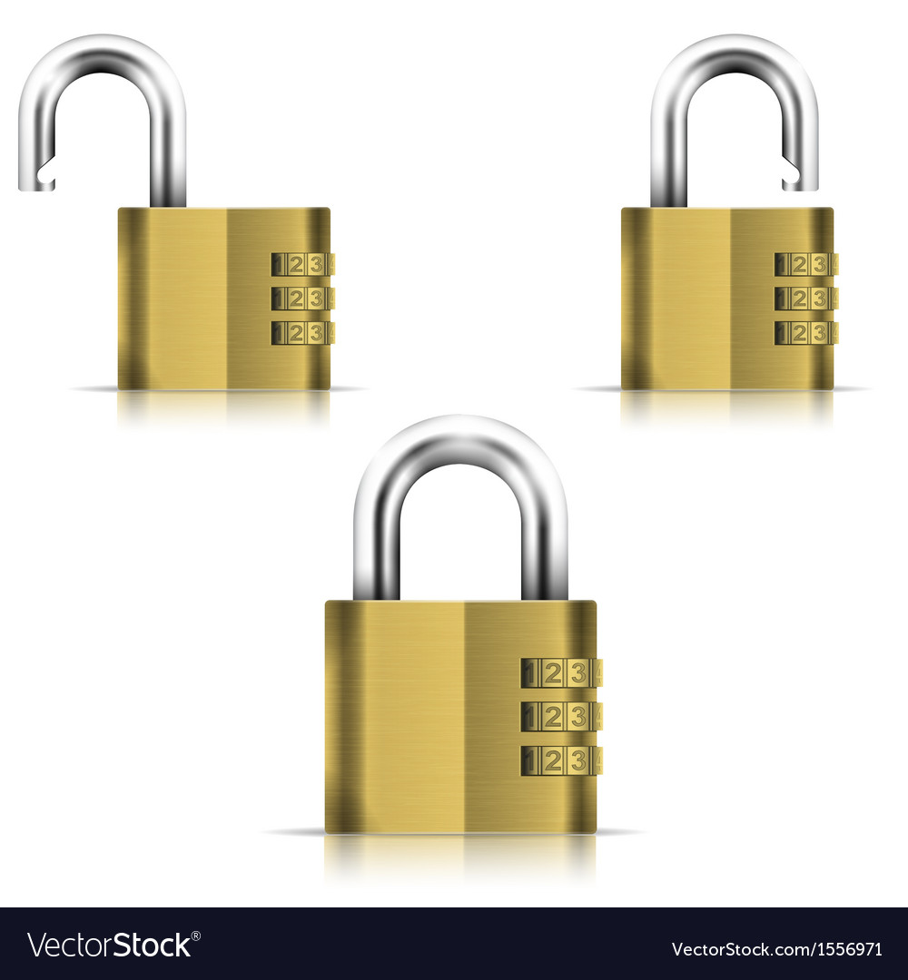 Brass open and closed isolated padlock vector | Price: 1 Credit (USD $1)