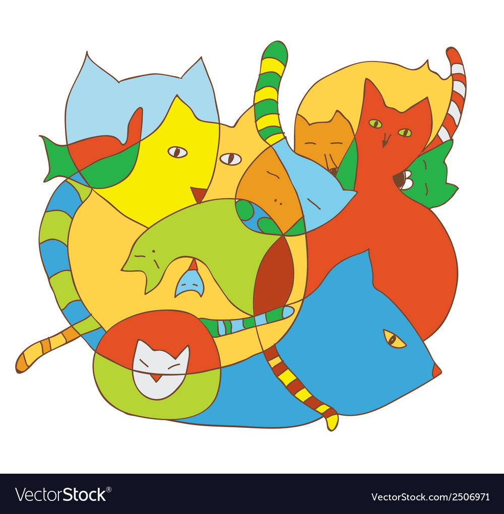 Cute card with cats funny vector | Price: 1 Credit (USD $1)