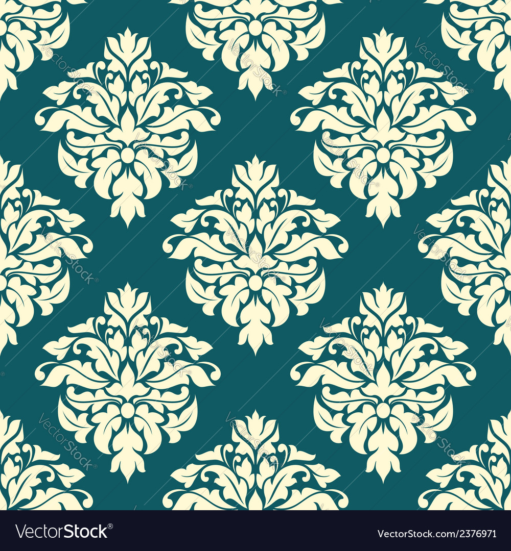 Damask seamless pattern with green and beige vector | Price: 1 Credit (USD $1)