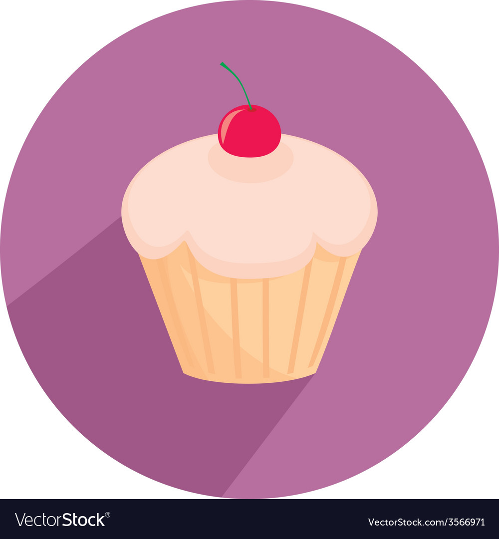 Flat cherry cupcake sign isolated on white vector | Price: 1 Credit (USD $1)