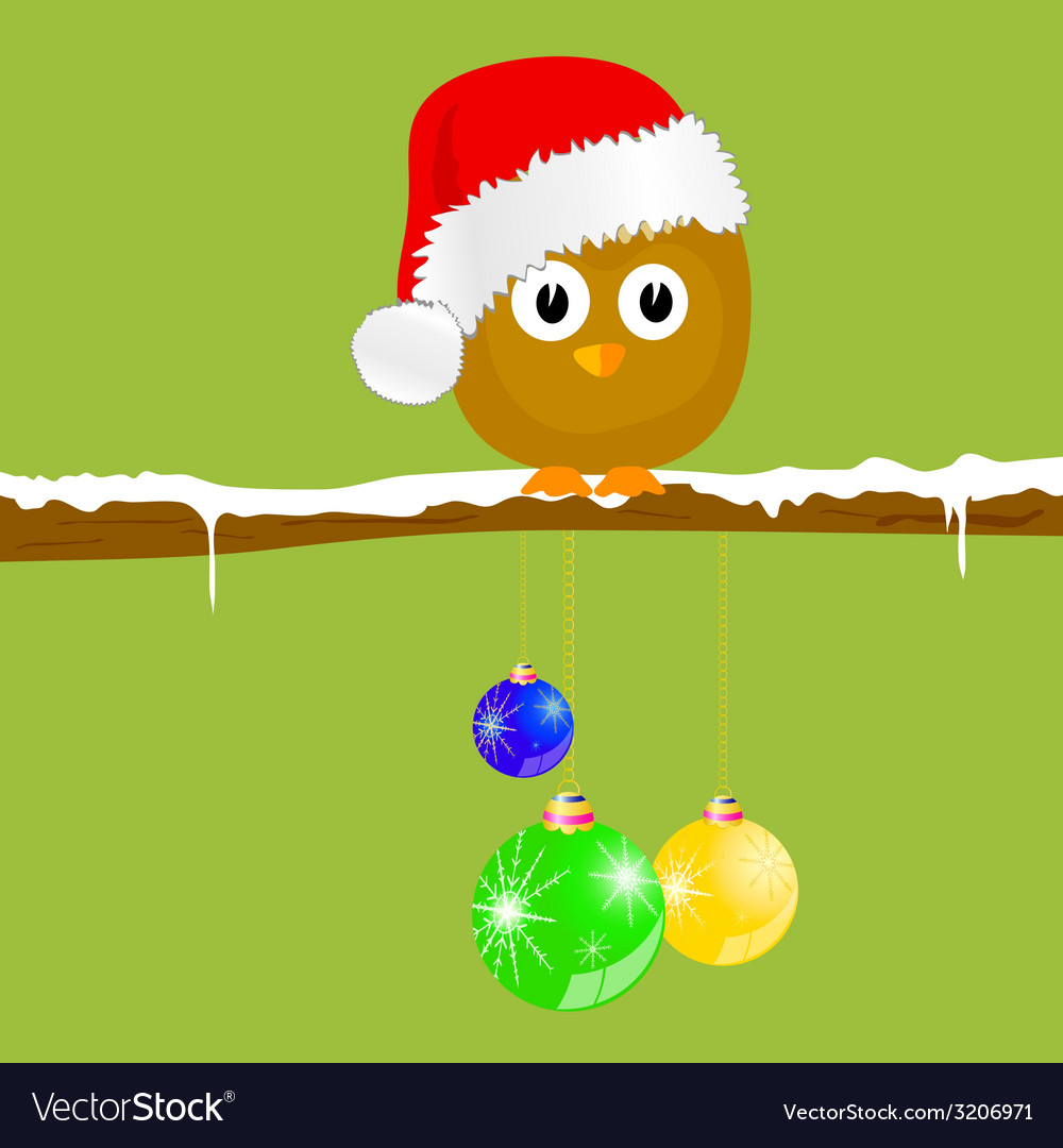 Funny animal with christmas balls on the snow vector | Price: 1 Credit (USD $1)