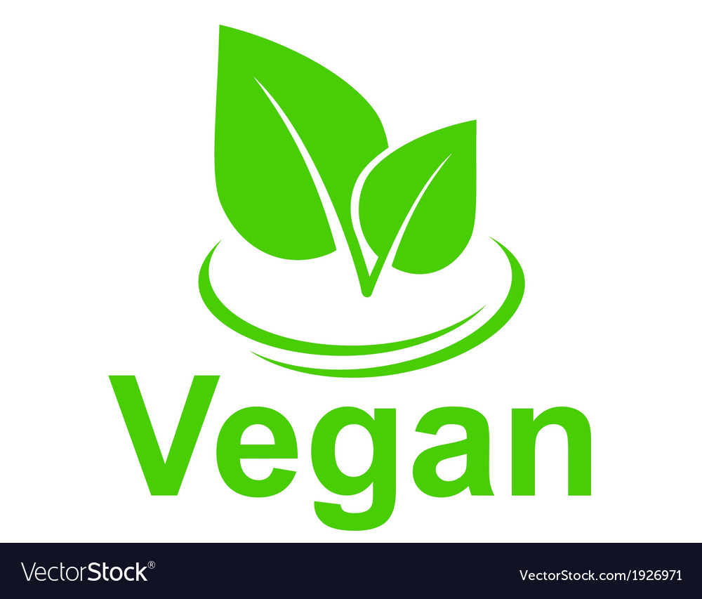 Green vegetarian sign with leaves vector | Price: 1 Credit (USD $1)