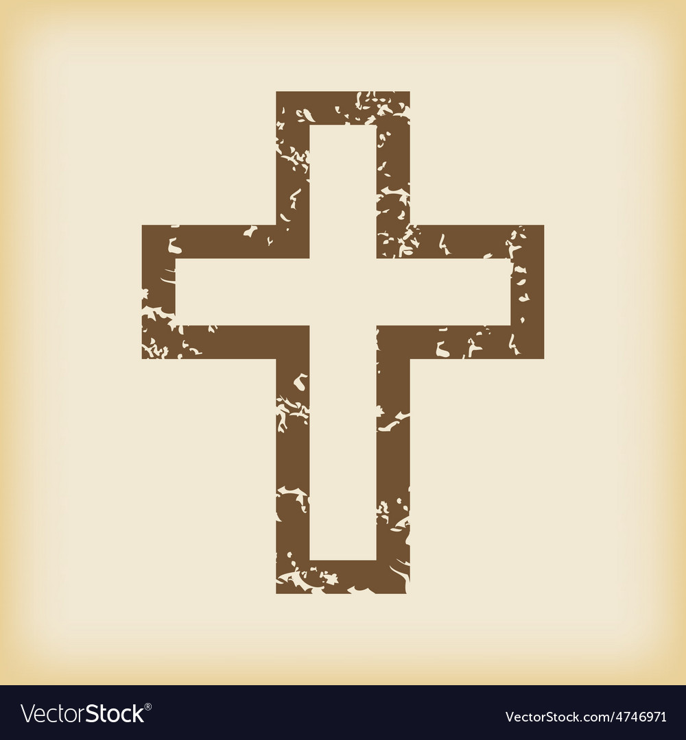 Grungy christian cross icon vector | Price: 1 Credit (USD $1)