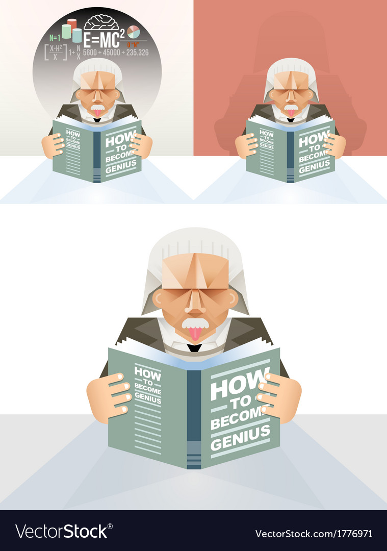 Old man reading a book education concept vector | Price: 1 Credit (USD $1)