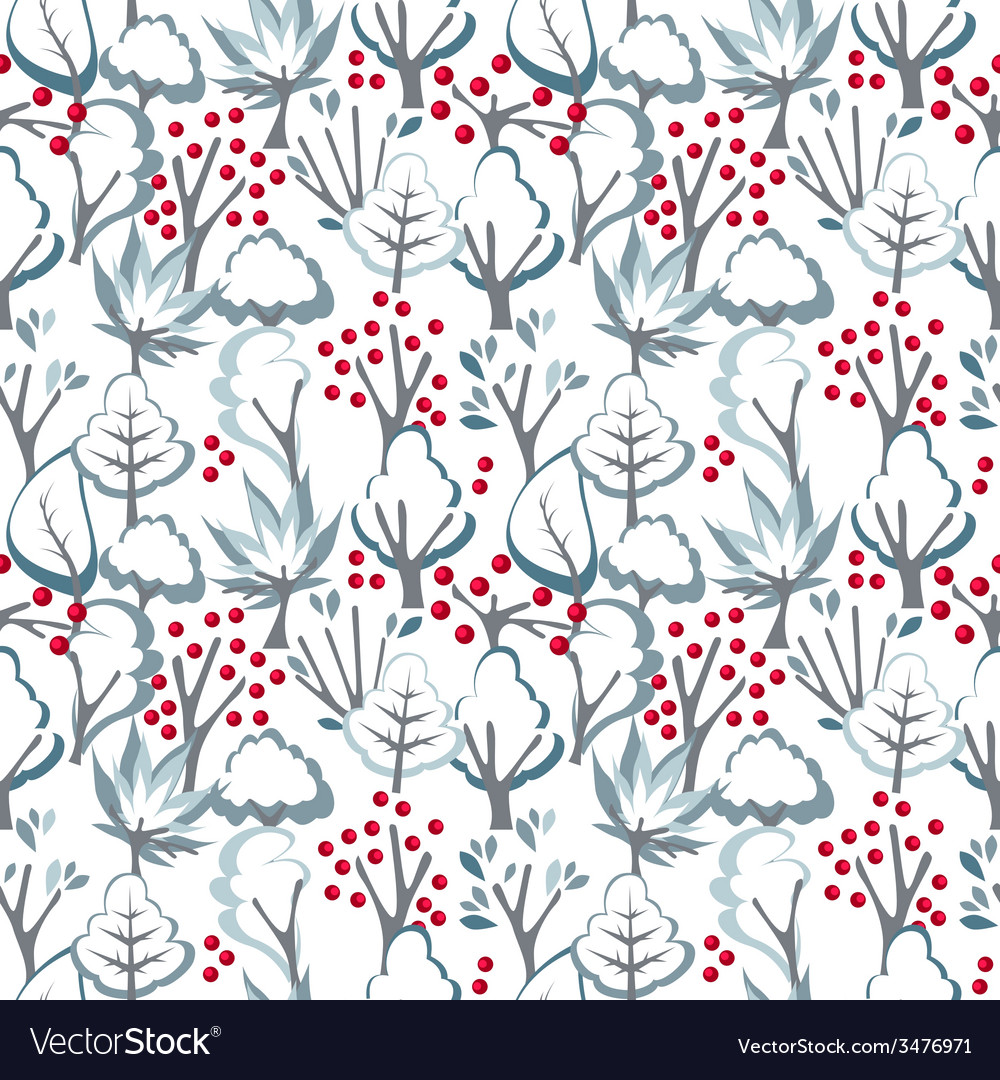 Seamless pattern with winter trees vector | Price: 1 Credit (USD $1)