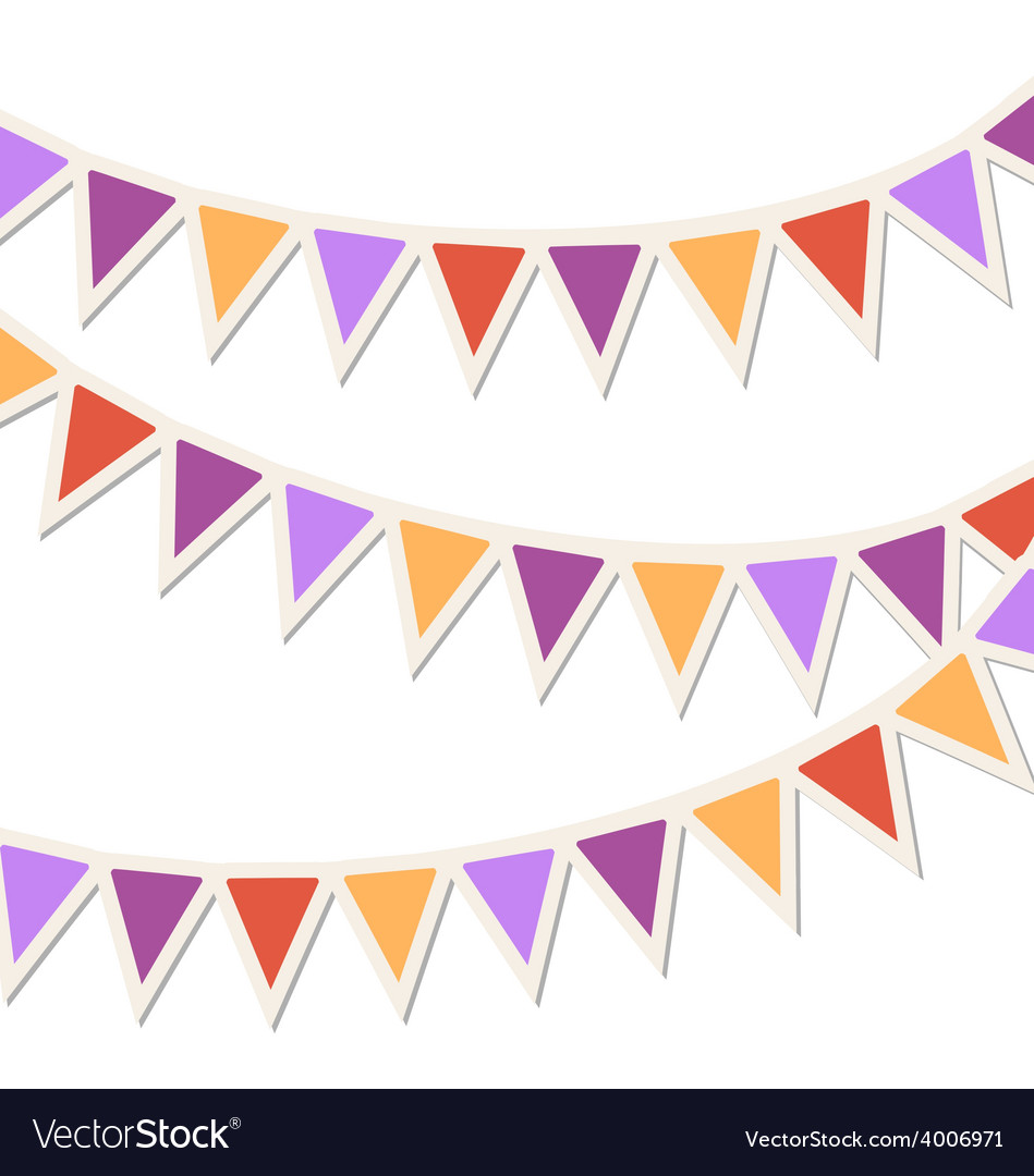 Set of multicolored flat buntings garlands vector | Price: 1 Credit (USD $1)