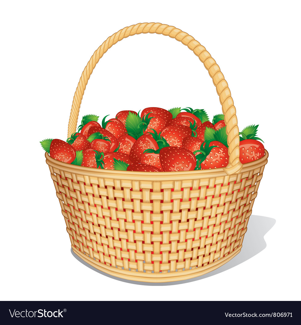 Strawberry basket vector | Price: 1 Credit (USD $1)