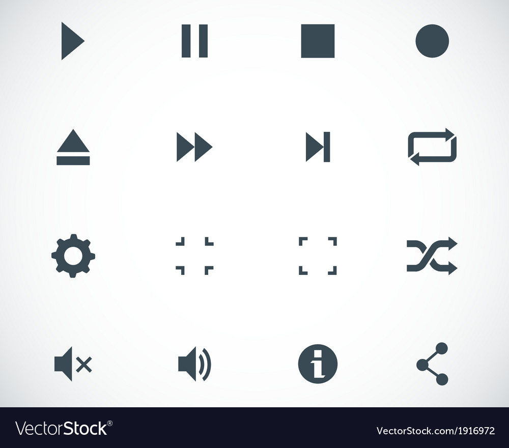 Black media player icons set vector | Price: 1 Credit (USD $1)