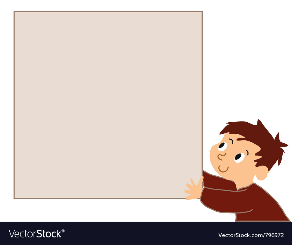 Boy holding noticeboard vector | Price: 1 Credit (USD $1)