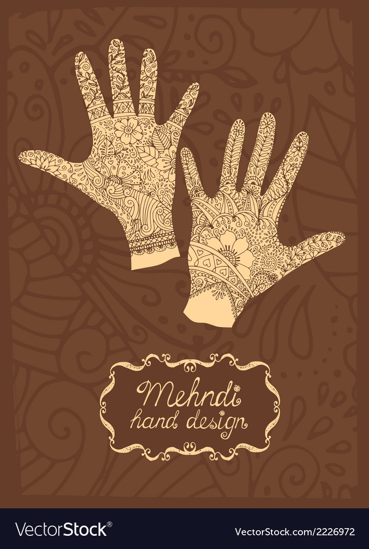 Mehndi hand design vector | Price: 1 Credit (USD $1)