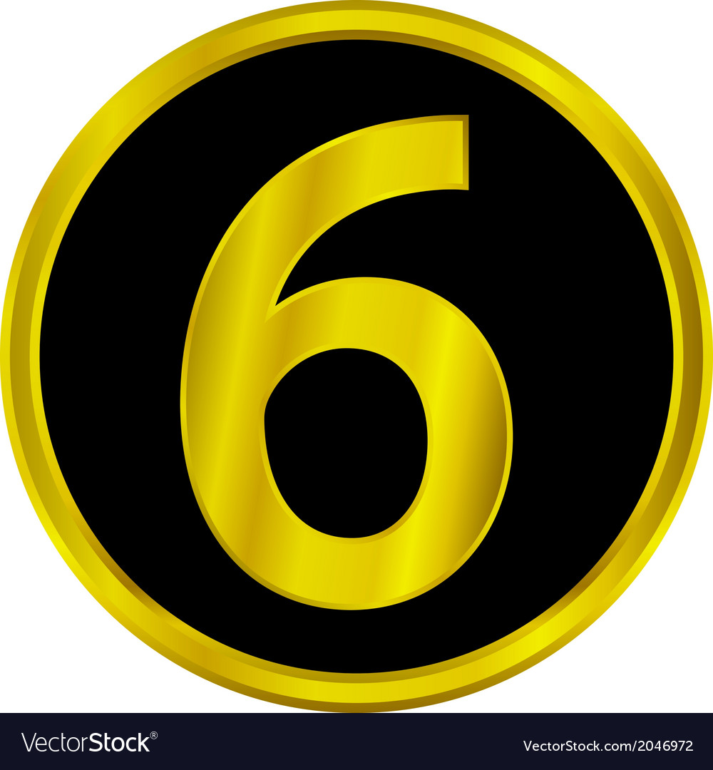 Number six button vector | Price: 1 Credit (USD $1)