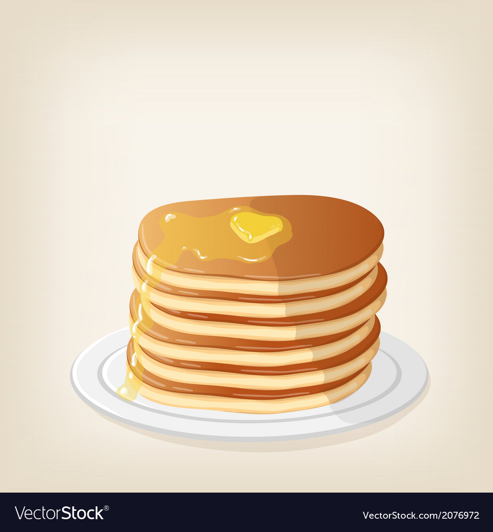 Pancakes with a piece butter vector | Price: 1 Credit (USD $1)