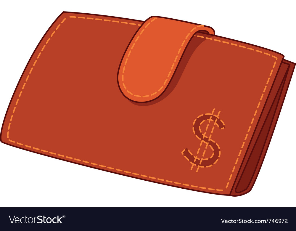 Red leather wallet with dollar sign vector | Price: 1 Credit (USD $1)