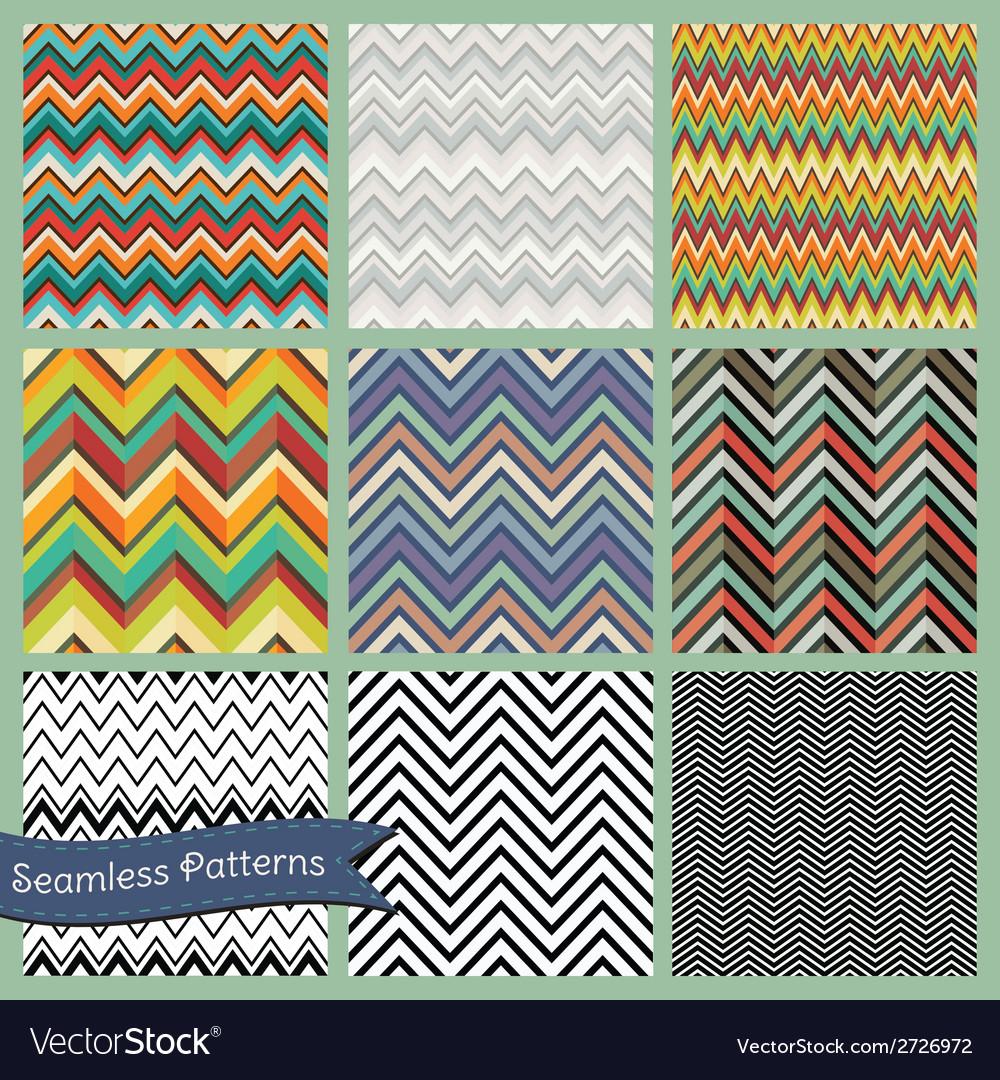 Seamless retro geometric zigzag background set vector | Price: 1 Credit (USD $1)