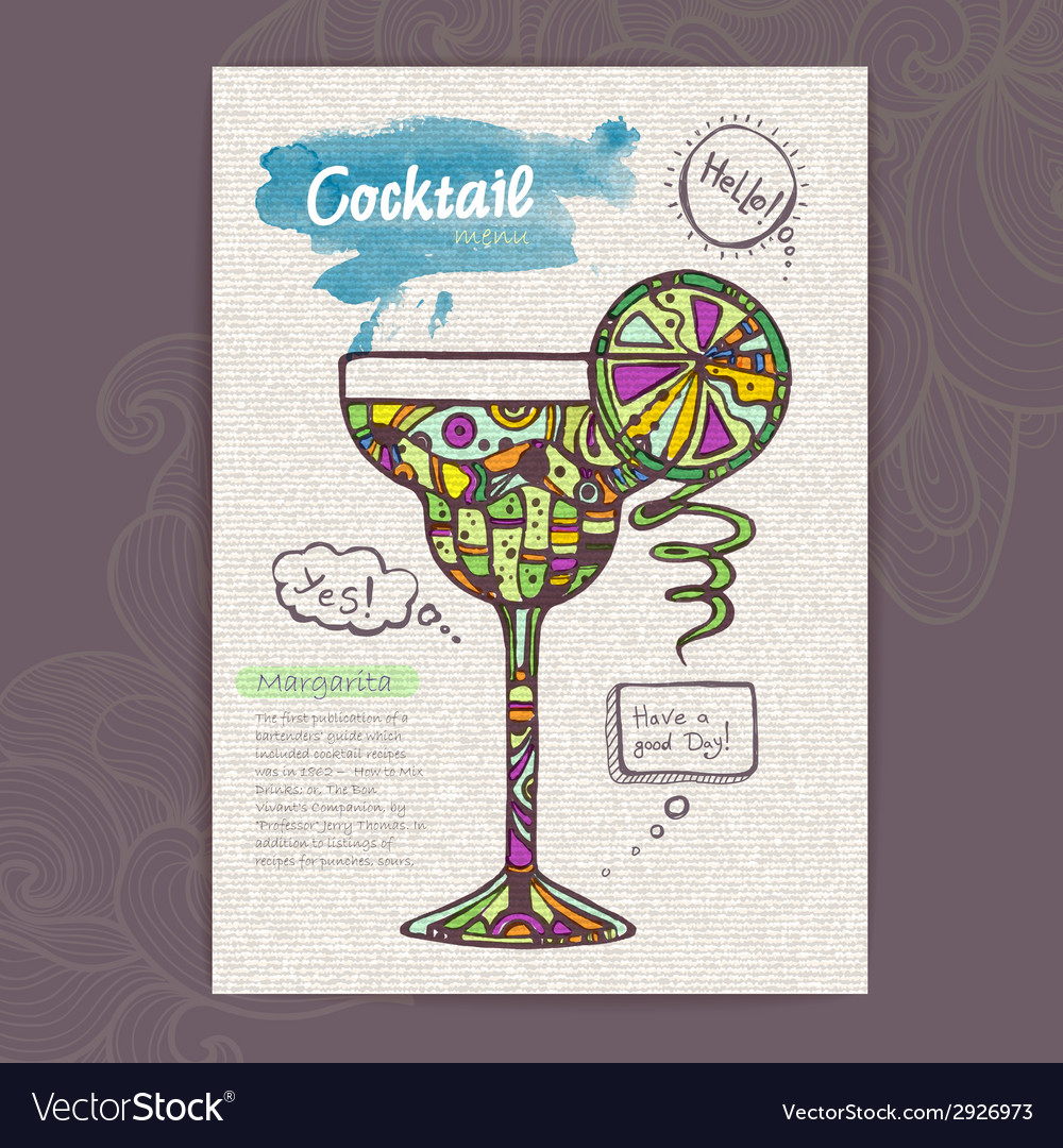 Decorative sketch of cocktail vector | Price: 1 Credit (USD $1)