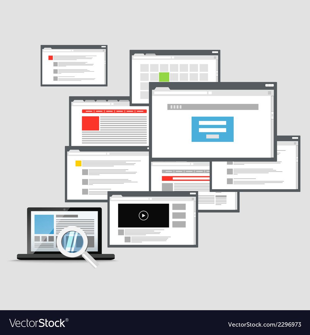 Different browser windows and modern laptop vector | Price: 1 Credit (USD $1)