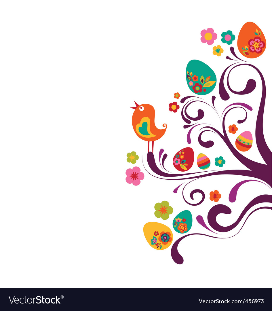 Easter eggs on tree vector | Price: 1 Credit (USD $1)