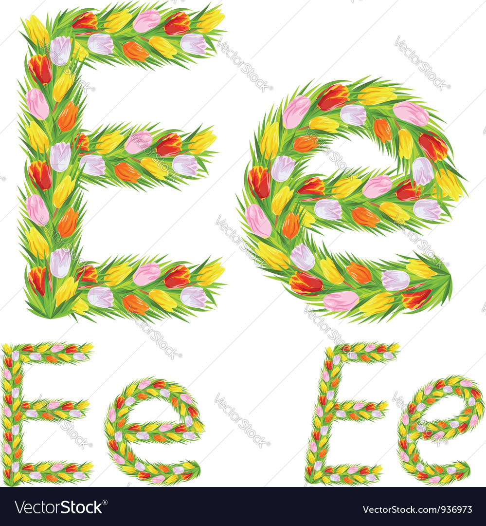 Font type letter e made from flower tulip vector | Price: 1 Credit (USD $1)