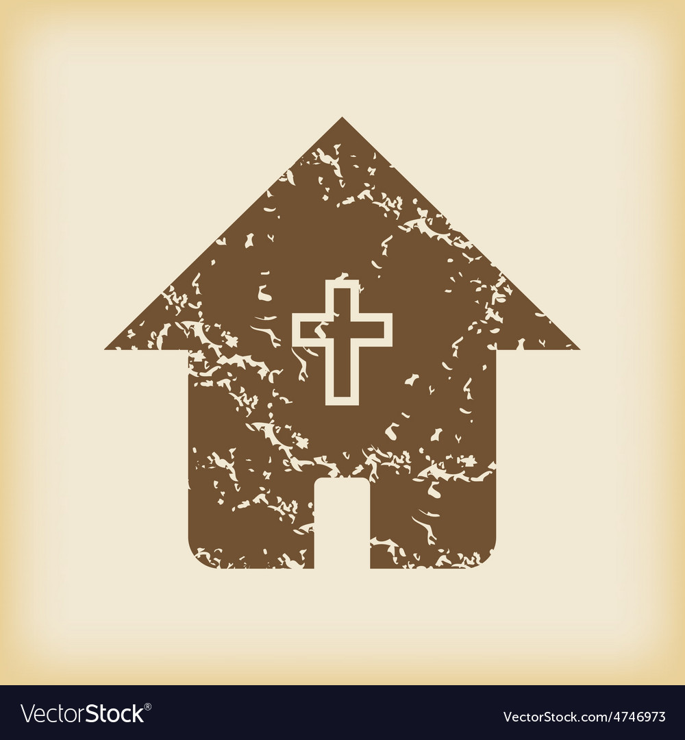 Grungy christian house icon vector | Price: 1 Credit (USD $1)