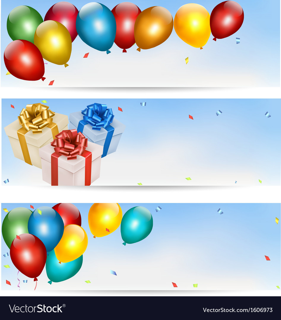 Holiday banners with colorful balloons and gift vector | Price: 1 Credit (USD $1)