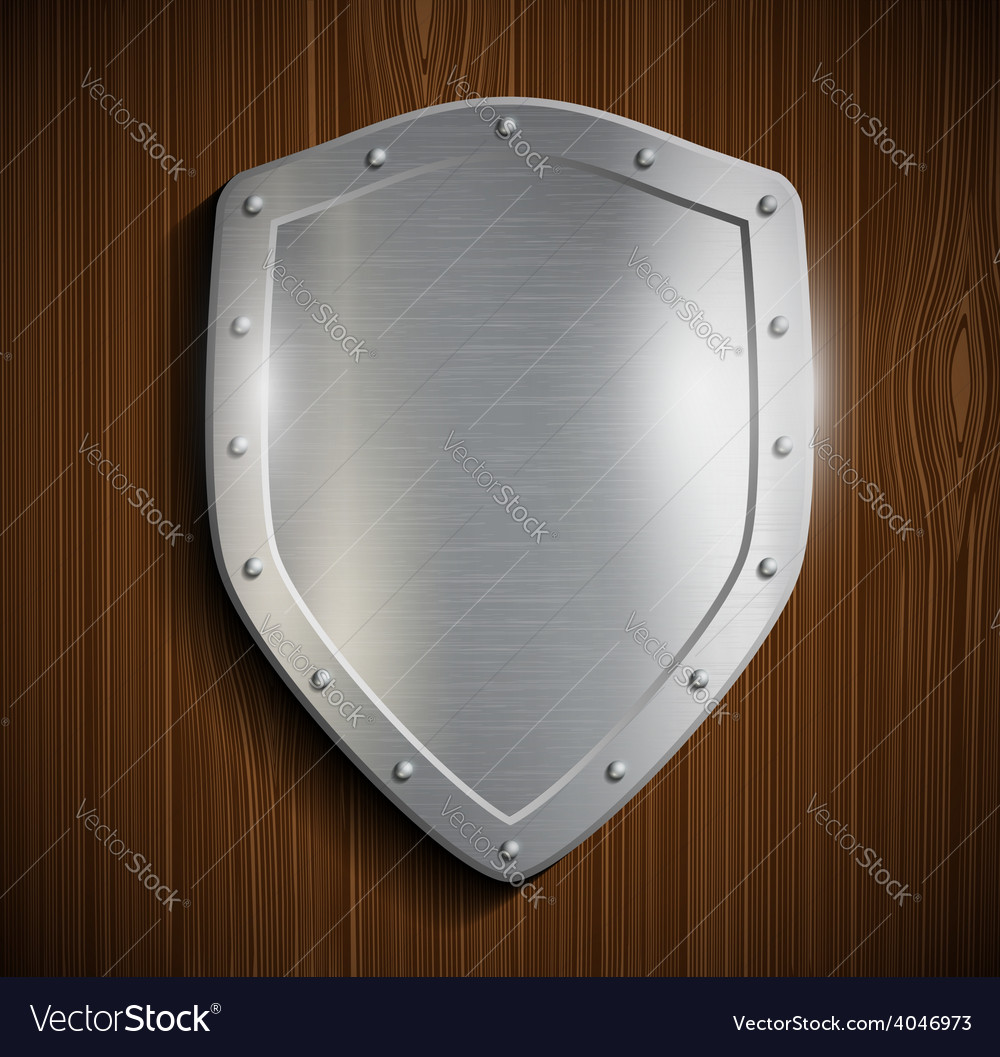 Metal shield on a wooden surface vector | Price: 1 Credit (USD $1)