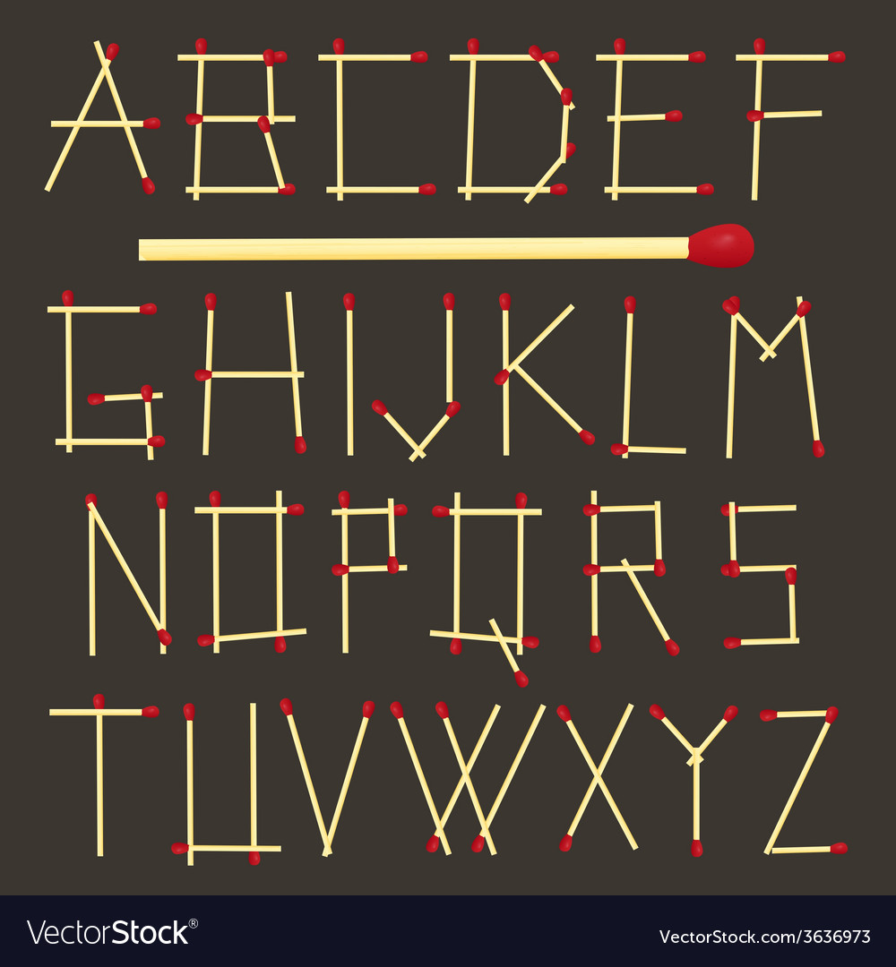 Safety matches alphabet on dark background vector   Price: 1 Credit (USD $1)