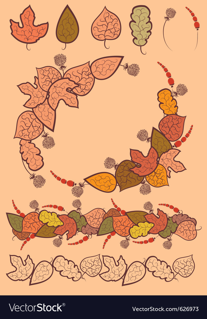 Set of autumn leaves decoration vector | Price: 1 Credit (USD $1)
