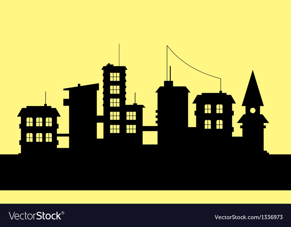 Silhouette of city on yellow background vector | Price: 1 Credit (USD $1)