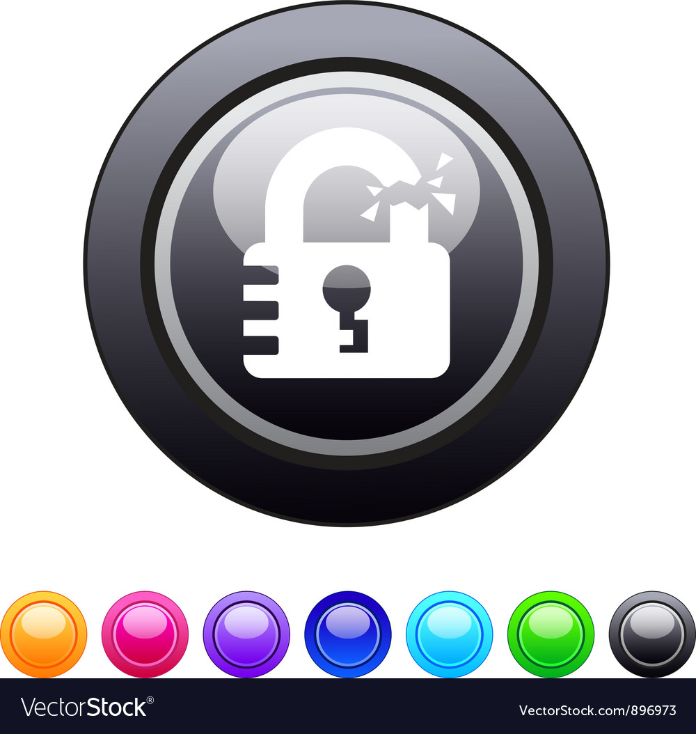 Unlock circle button vector | Price: 1 Credit (USD $1)