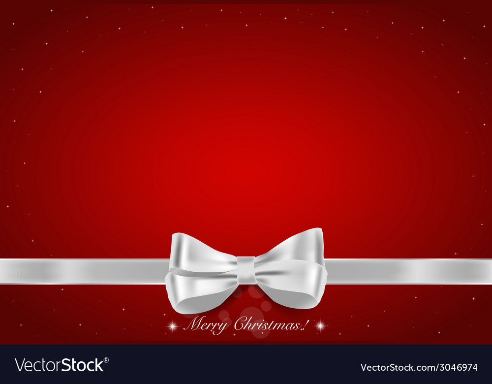 Christmas background shiny ribbon on red vector | Price: 1 Credit (USD $1)