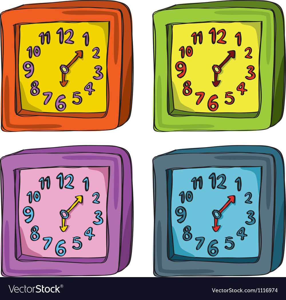 Clocks color set vector | Price: 1 Credit (USD $1)