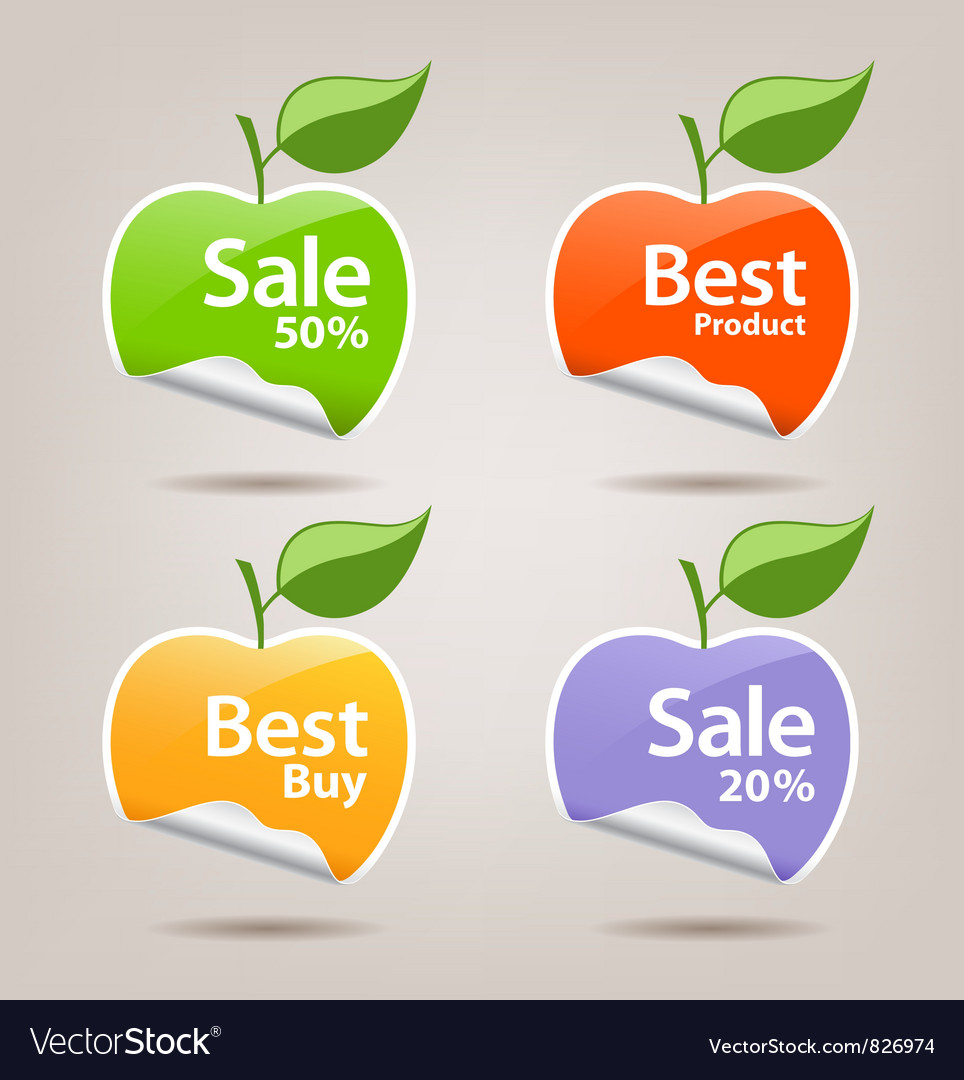 Collections colorful sticker apple vector   Price: 1 Credit (USD $1)