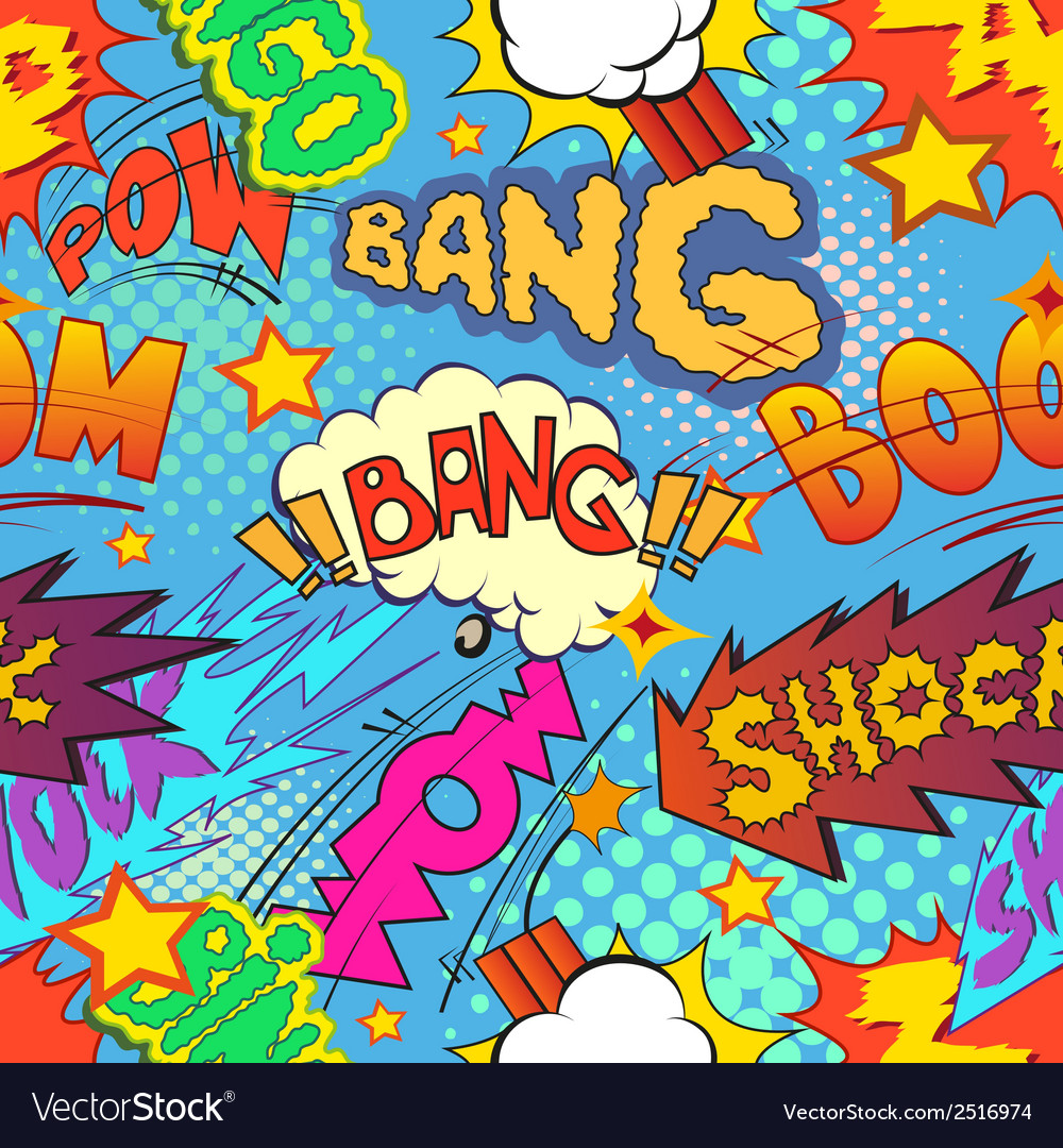 Comic book explosion seamless pattern vector | Price: 1 Credit (USD $1)