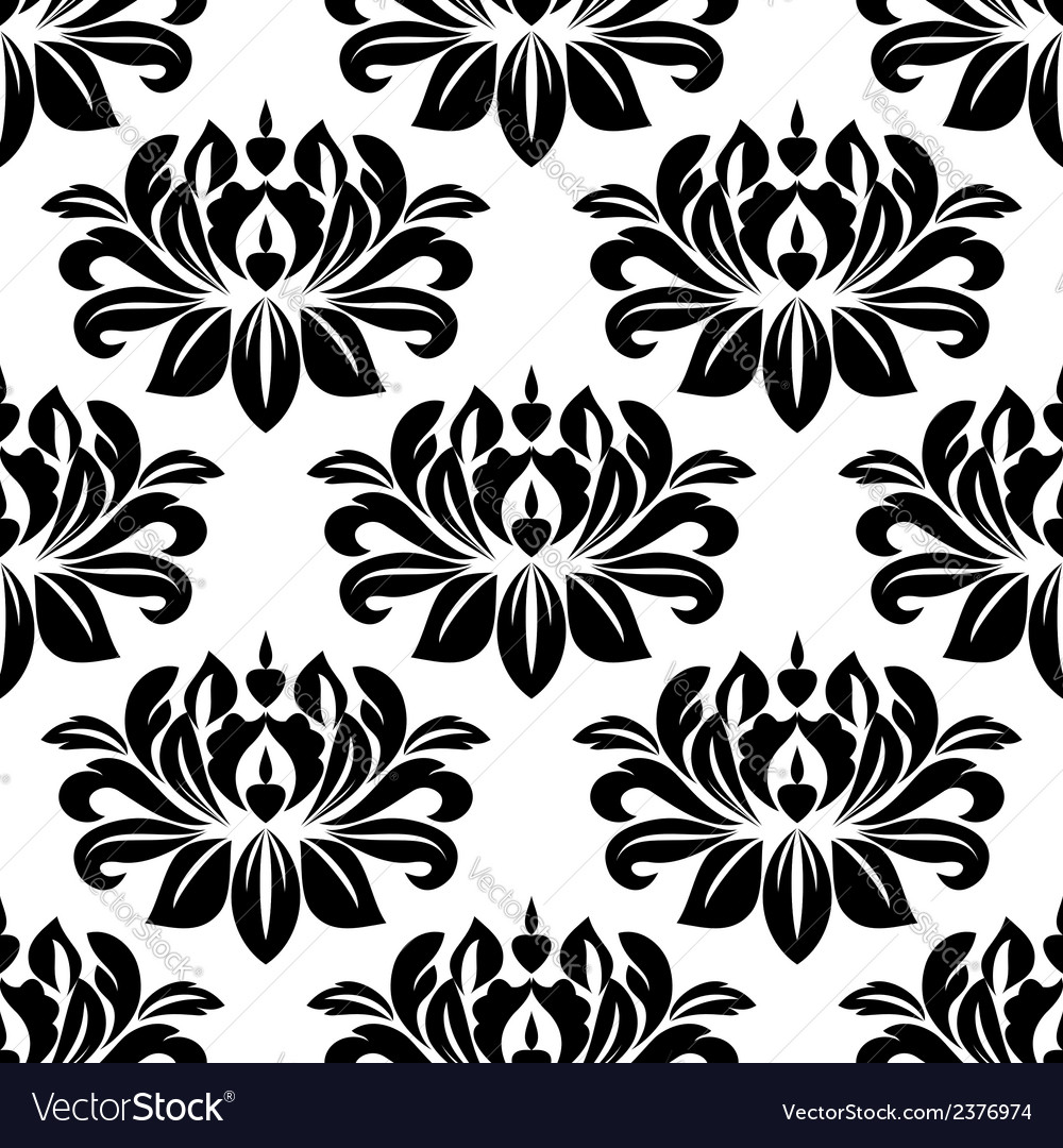 Damask seamless pattern with bold black motifs vector | Price: 1 Credit (USD $1)