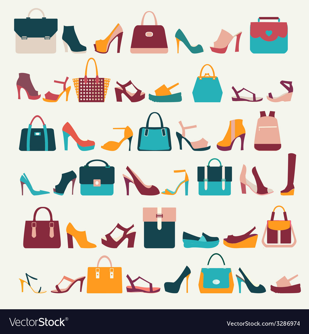 Set icons of women bags and shoes - vector | Price: 1 Credit (USD $1)